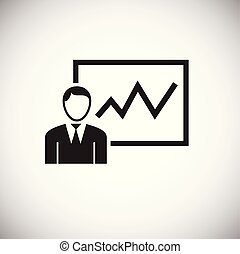 Businessman with presentation on white background