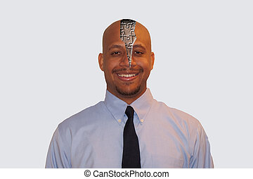 Businessman with Puzzle Shaped Brain Exposed