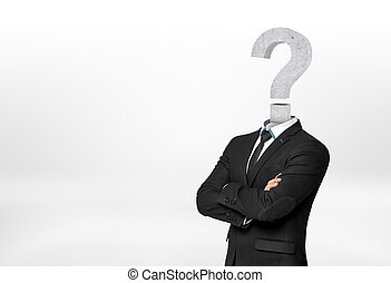 Businessman with question mark instead of head. Deadlock...