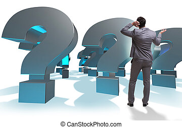 Businessman with question marks isolated on white