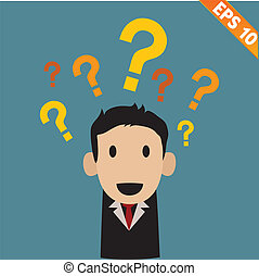 businessman with question marks - Vector illustration -...
