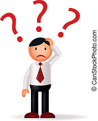Businessman with question marks - Vector illustration of...