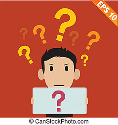 businessman with question marks - Vector illustration - EPS10