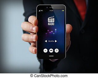 businessman with radio smartphone