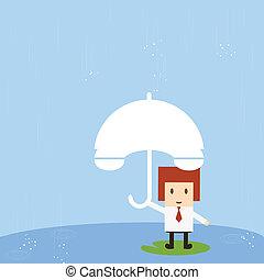 Businessman with rain, vector eps10