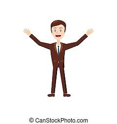 Businessman with raised arms icon, cartoon style