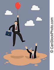 Businessman with red balloon get away from puddle of quicksand. Business concept