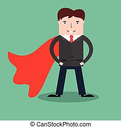 Businessman with red cape