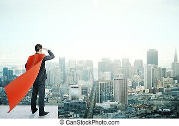Businessman with red cape - Businessman with red superhero...