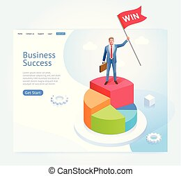 Businessman with red flag stand on top of the infographic pie chart. Business success conceptual design.