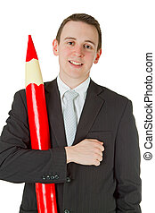 Businessman with red pencil