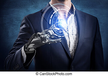 Businessman with robot hand touches virtual icon. 3d rendering.