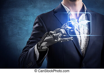 Businessman with robot hand touches world map icon.
