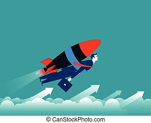 Businessman with rocket and flying up