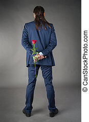 businessman with rose