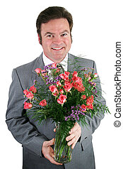 Businessman With Roses