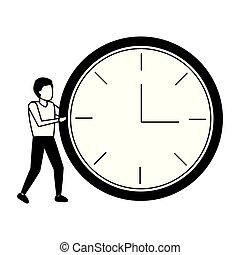 businessman with round clock