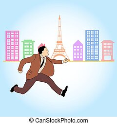Businessman with rush hours in capital city - vector