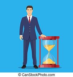 Businessman with sand clock.