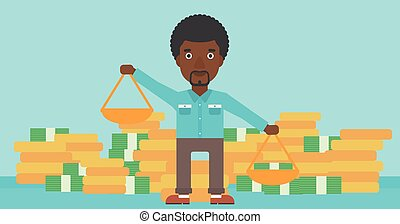 Businessman with scales vector illustration.