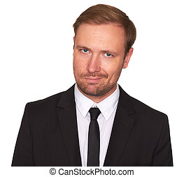 businessman with sceptical expression isolated on white ...