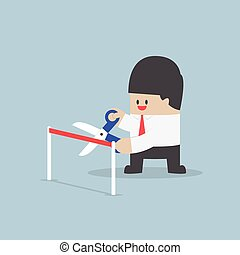 Businessman with scissors cutting a red ribbon