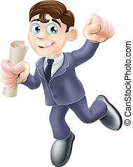 Businessman with scroll - A happy man in business suit with...