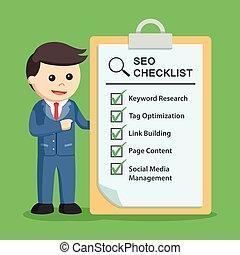 Businessman with SEO checklist