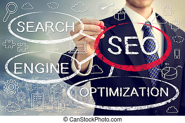 Businessman drawing SEO concept bubbles with cartoon