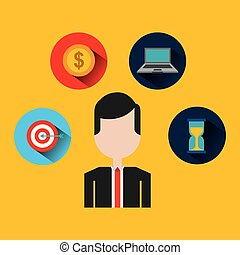 businessman with set icons