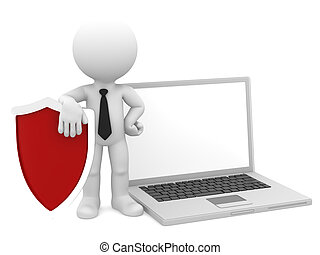 Businessman with shield and laptop. Internet/computer security concept.