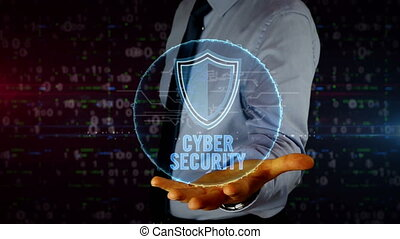 Businessman with shield hologram - Man with dynamic cyber...