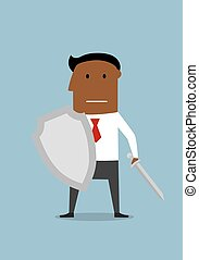 Businessman with shield protecting a business