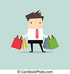 Businessman with shopping bags.