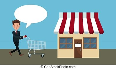 Businessman with shopping cart entering to store