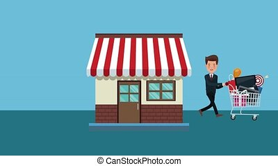 Businessman with shopping cart HD animation