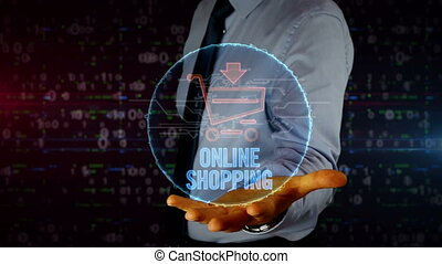 Businessman with shopping cart symbol hologram