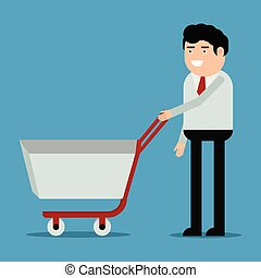 Businessman with shopping trolley