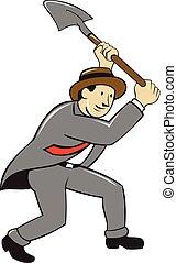 Businessman With Shovel Digging Cartoon