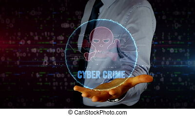 Man with skull symbol hologram on hand. Businessman showing futuristic concept of cyber attack, online crime, pirate, theft and fraud in cyberspace with light and glitch effect.