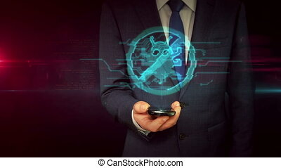 Businessman with smartphone and antivirus hologram concept...