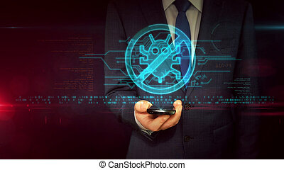 Businessman with smartphone and antivirus hologram concept