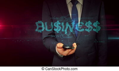 Businessman with smartphone and business hologram concept