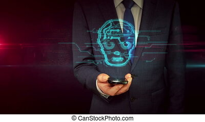 Businessman with smartphone and cyber face sign hologram...