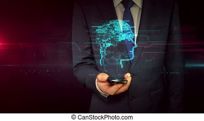 Businessman with smartphone and cyber head sign hologram...