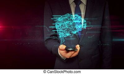 Businessman with smartphone and cybernetic brain shape...