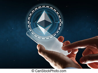 businessman with smartphone and ethereum hologram - business...