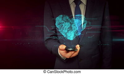 Businessman with smartphone and heart sign hologram concept...