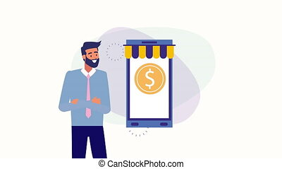 businessman with smartphone and money animation