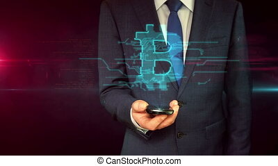 Businessman with smartphone and padlock hologram concept -...